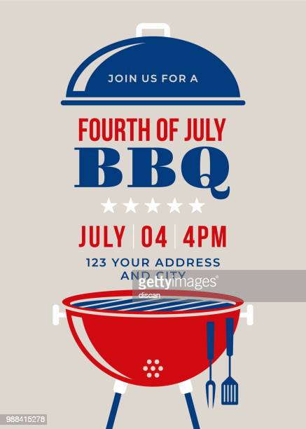 fourth of july bbq party invitation - fourth of july stock illustrations