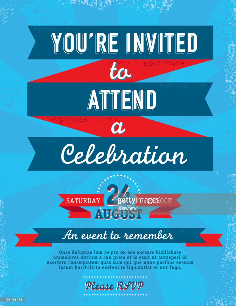 Fourth of July Bright and colorful retro invitation template