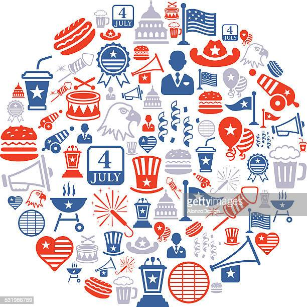 fourth of july collage - national holiday stock illustrations, clip art, cartoons, & icons
