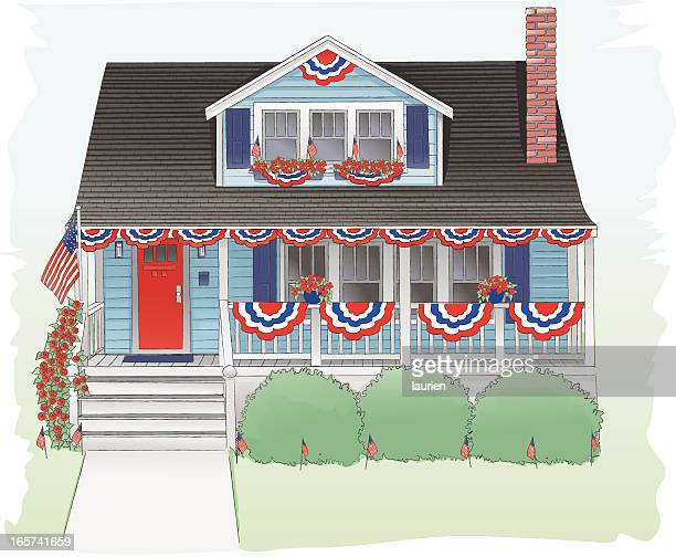 fourth of july decorated bungalow. - bungalow stock illustrations, clip art, cartoons, & icons