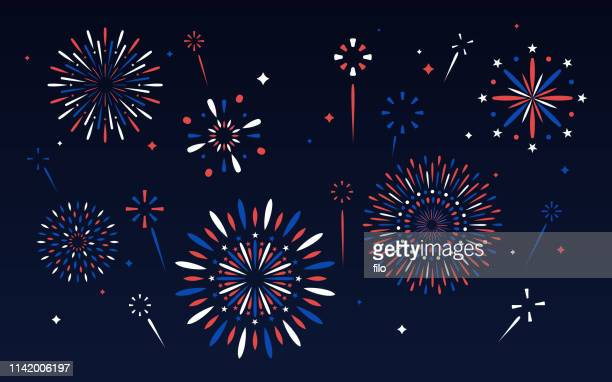 fourth of july fireworks display - national holiday stock illustrations