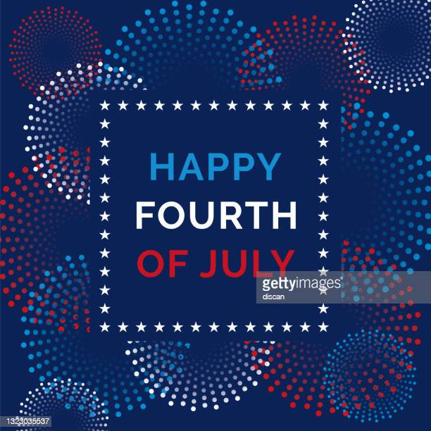 fourth of july greeting card with fireworks. - happy flag day stock illustrations