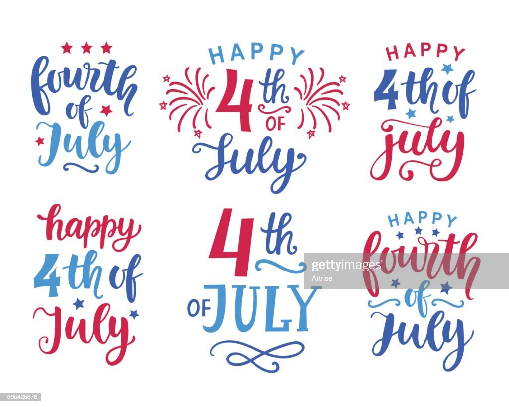 Fourth of July hand written ink lettering set