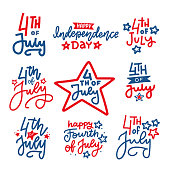 Fourth of July hand written trendy line lettering set. United States of America Independence day typographic design for poster, brochure, greeting card template. Vector flat hand drawn illustration