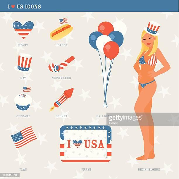 fourth of july icons - arugula stock illustrations, clip art, cartoons, & icons