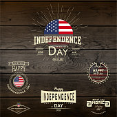 Fourth of July Independence Day USA badges for any use