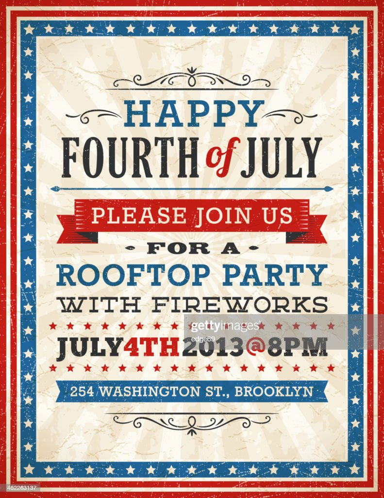 fourth of july invitation vector art getty images