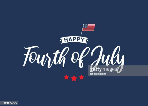 fourth of july lettering blue card with usa flag. vector illustration. - fourth of july stock illustrations