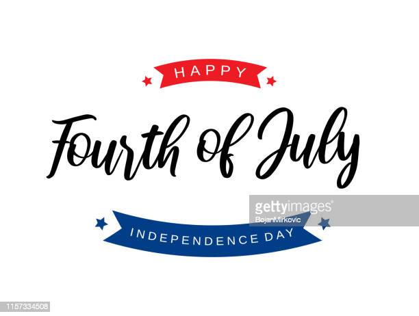 fourth of july lettering card. independence day. vector illustration. - happiness stock illustrations