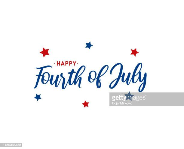 fourth of july lettering on white background. vector illustration. - happiness stock illustrations