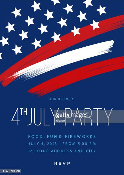 fourth of july party invitation template - flyer leaflet stock illustrations
