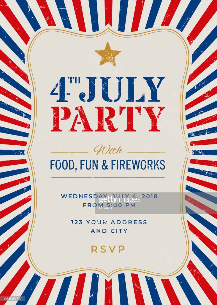 Fourth Of July Party Invitation Template Vector Art Getty Images