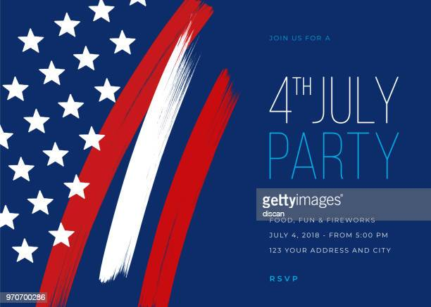 fourth of july party invitation template - independence day holiday stock illustrations