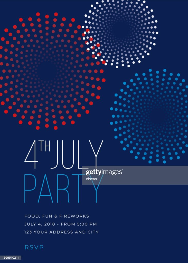 Fourth of July Party Invitation with Fireworks - Illustration : stock illustration