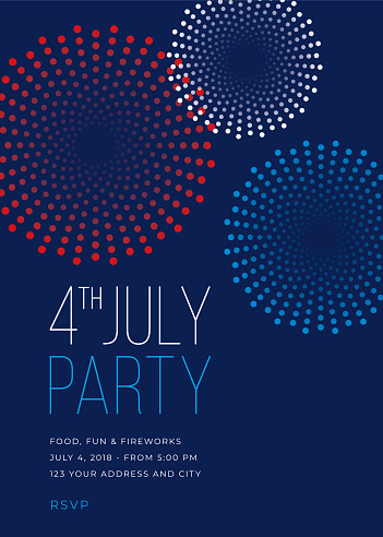 Fourth of July Party Invitation with Fireworks - Illustration - gettyimageskorea