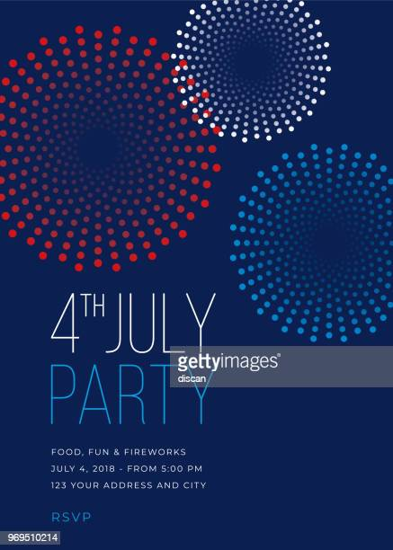 ilustrações de stock, clip art, desenhos animados e ícones de fourth of july party invitation with fireworks - illustration - fogosdeartificio