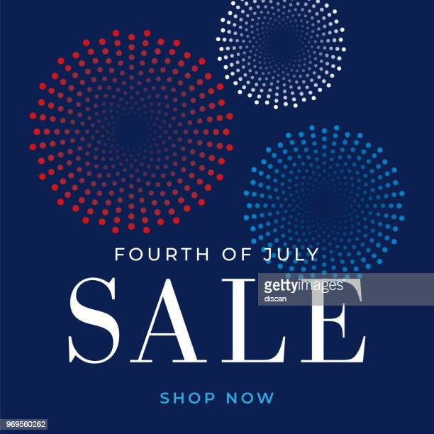 fourth of july sale design for advertising, banners, leaflets and flyers - illustration - independence day holiday stock illustrations