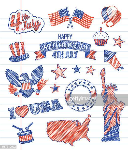 fourth of july - sketchy icons - independence day stock illustrations, clip art, cartoons, & icons