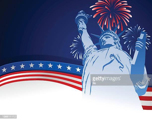 ilustraciones, imágenes clip art, dibujos animados e iconos de stock de cuatro de julio usa de fondo - estatua de la libertad