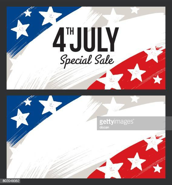 Fourth of July USA Independence day sale banner - Illustration