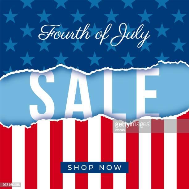 ilustrações, clipart, desenhos animados e ícones de bandeira de venda quatro de julho eua independência dia - ilustração - us military