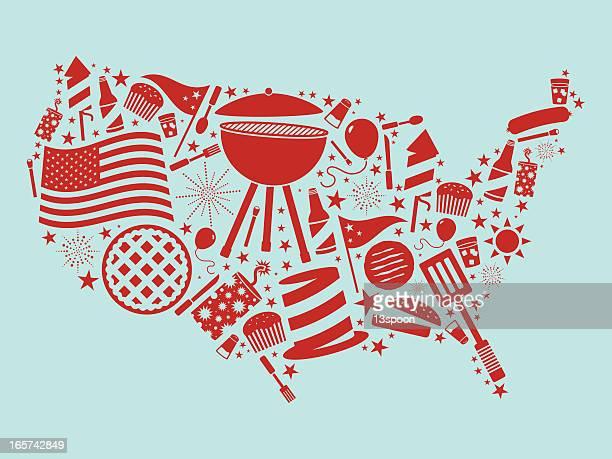 fourth of july usa - arugula stock illustrations, clip art, cartoons, & icons