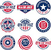 Fourth of July vintage labels for US Independence Day