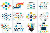 Fowcharts schemes, diagrams. Mega set. Simply color editable. Infographics elements.