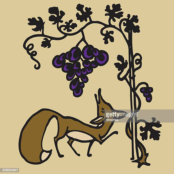 fox and grapes - cartoon characters with big noses stock illustrations, clip art, cartoons, & icons