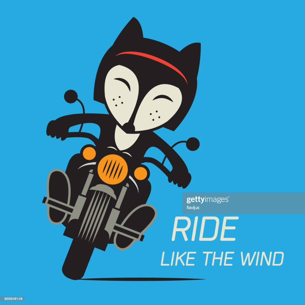Fox Biker riding a motorcycle. Bikers event or festival