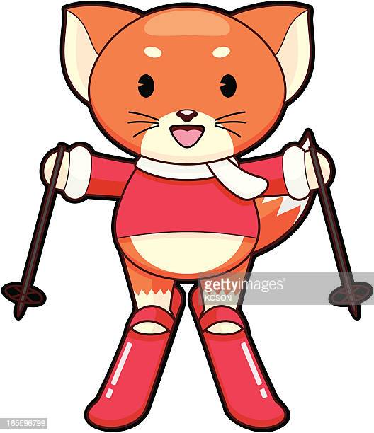 illustrations, cliparts, dessins animés et icônes de fox dessin animé - ski humour