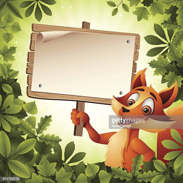 Fox holding a Wooden Sign