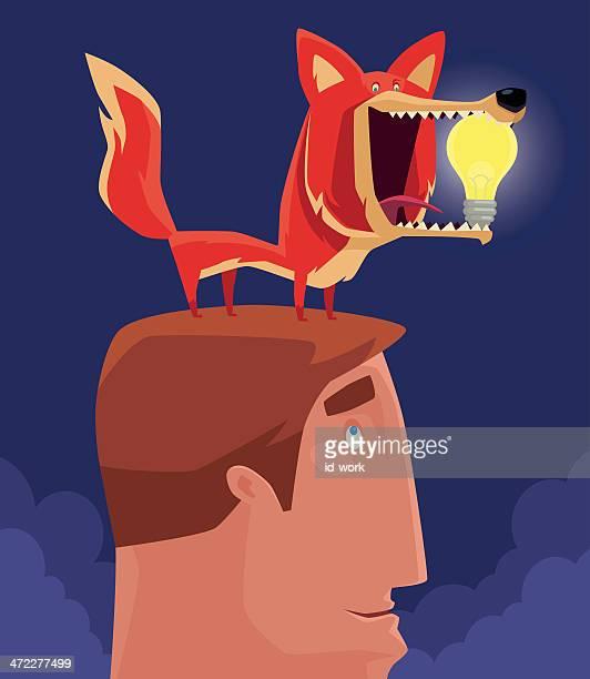 fox holding light bulb - dog eating stock illustrations, clip art, cartoons, & icons
