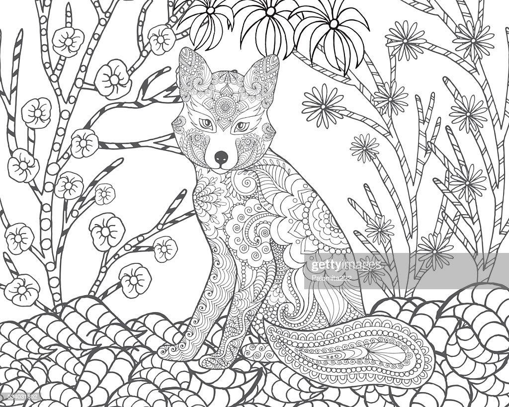 Fox in fantasy forest.