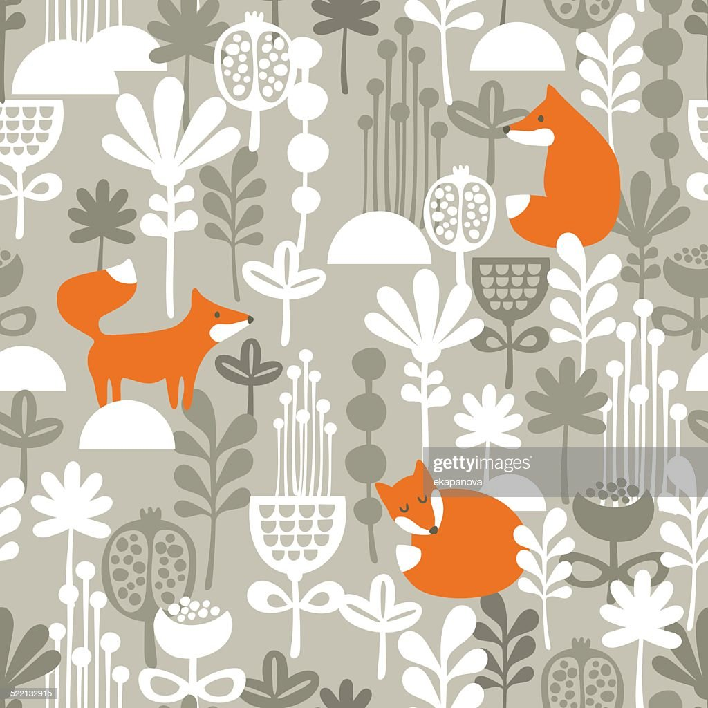 Fox in winter forest seamless pattern.