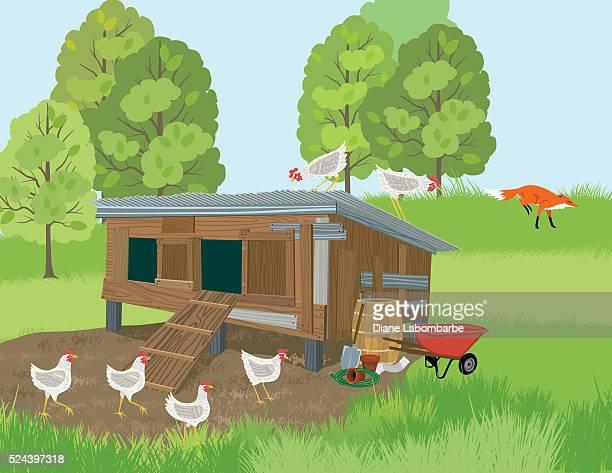 ギツネは、henhouse から - 鶏小屋点のイラスト素材/クリップアート素材/マンガ素材/アイコン素材