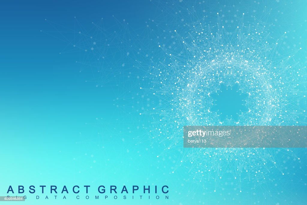 Fractal element with connected lines and dots. Vector illustration.