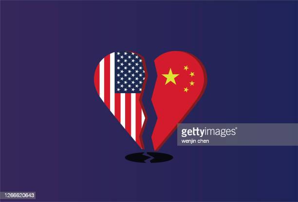 fractured heart composed of chinese and american flags - glühend stock illustrations