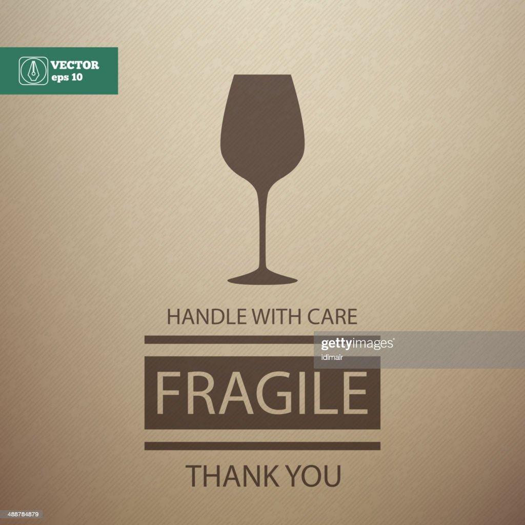Fragile Sign. Handle with Care. Vector