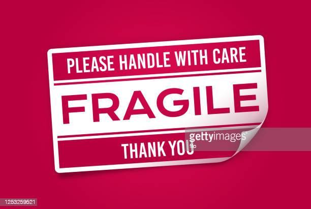 fragile sticker - fragile sticker stock illustrations