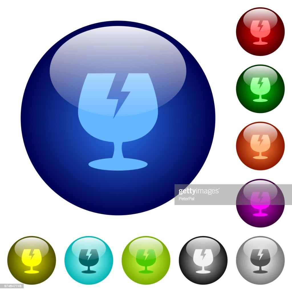 Fragile symbol color glass buttons