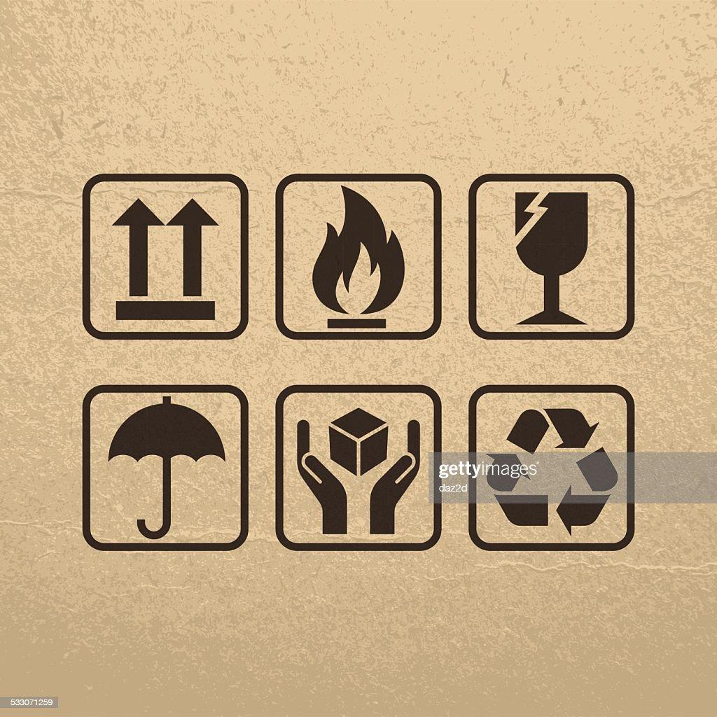 Fragile Symbols On Brown Paper Texture