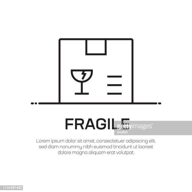 fragile vector line icon - simple thin line icon, premium quality design element - fragile sticker stock illustrations