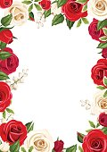 Frame background with red and white roses. Vector illustration.