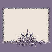 Frame bouquet vintage floral elements pattern