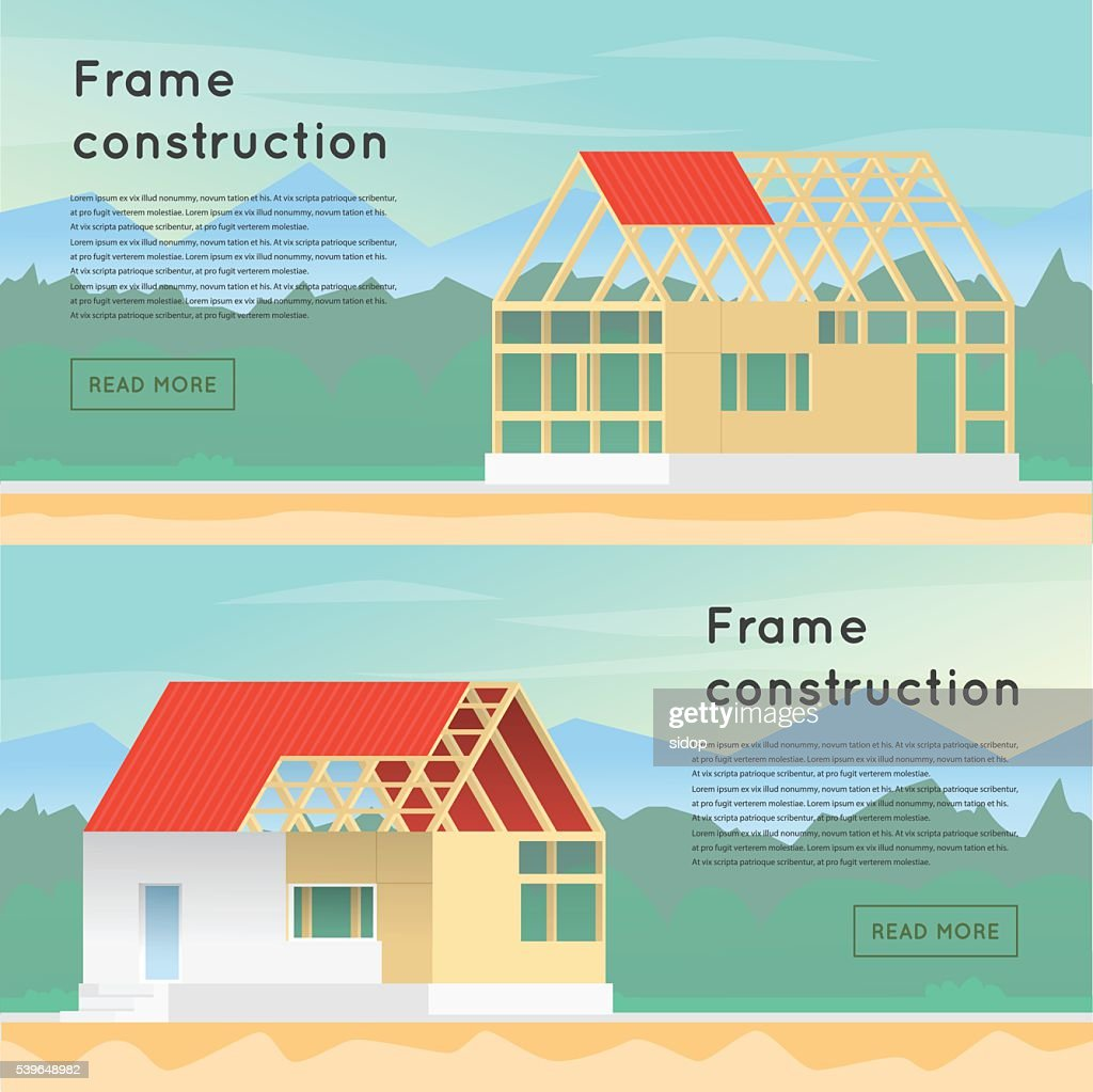 Frame construction. Wooden framework construction. Home Construction.