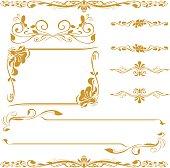 frame floral cornner line art gold set