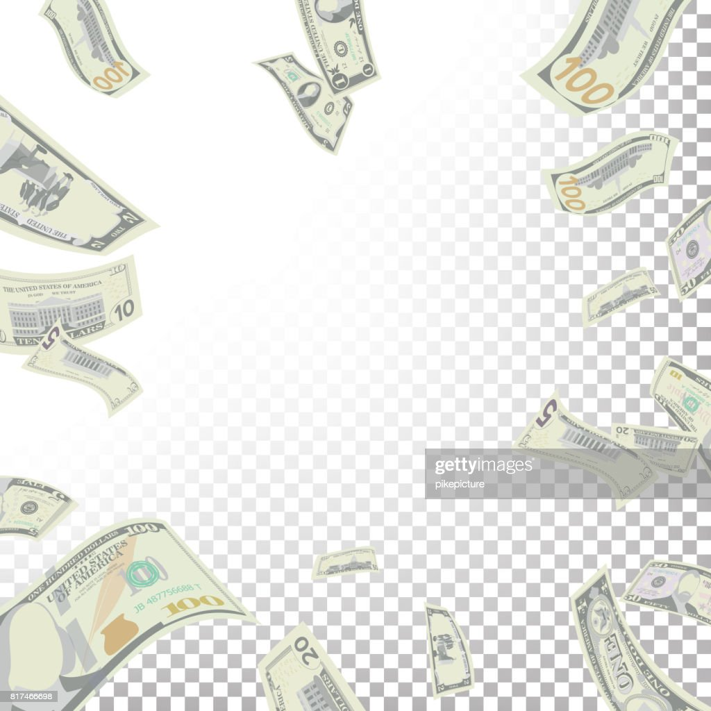 Frame From Flying Dollar Banknotes Vector