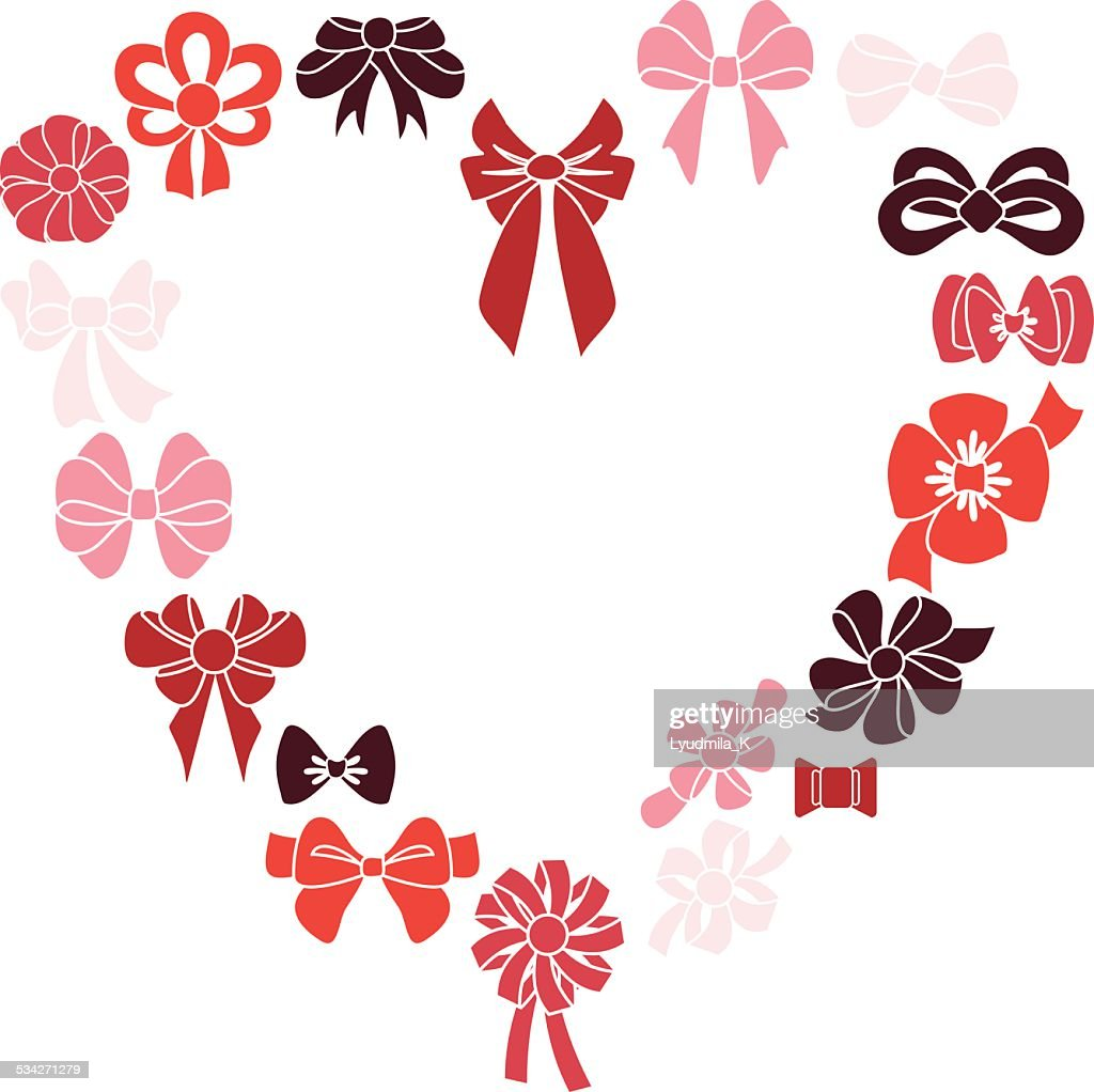 Frame heart of red ribbons Vector illustration.