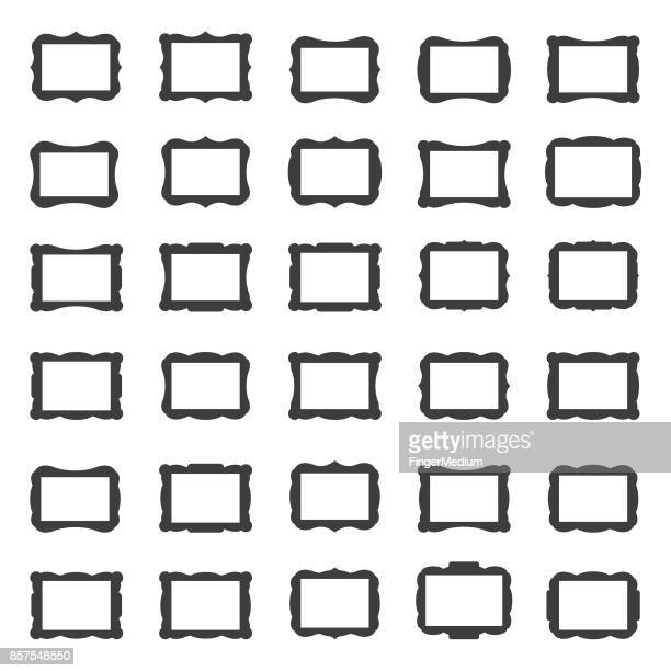 frame icon set - picture frame stock illustrations